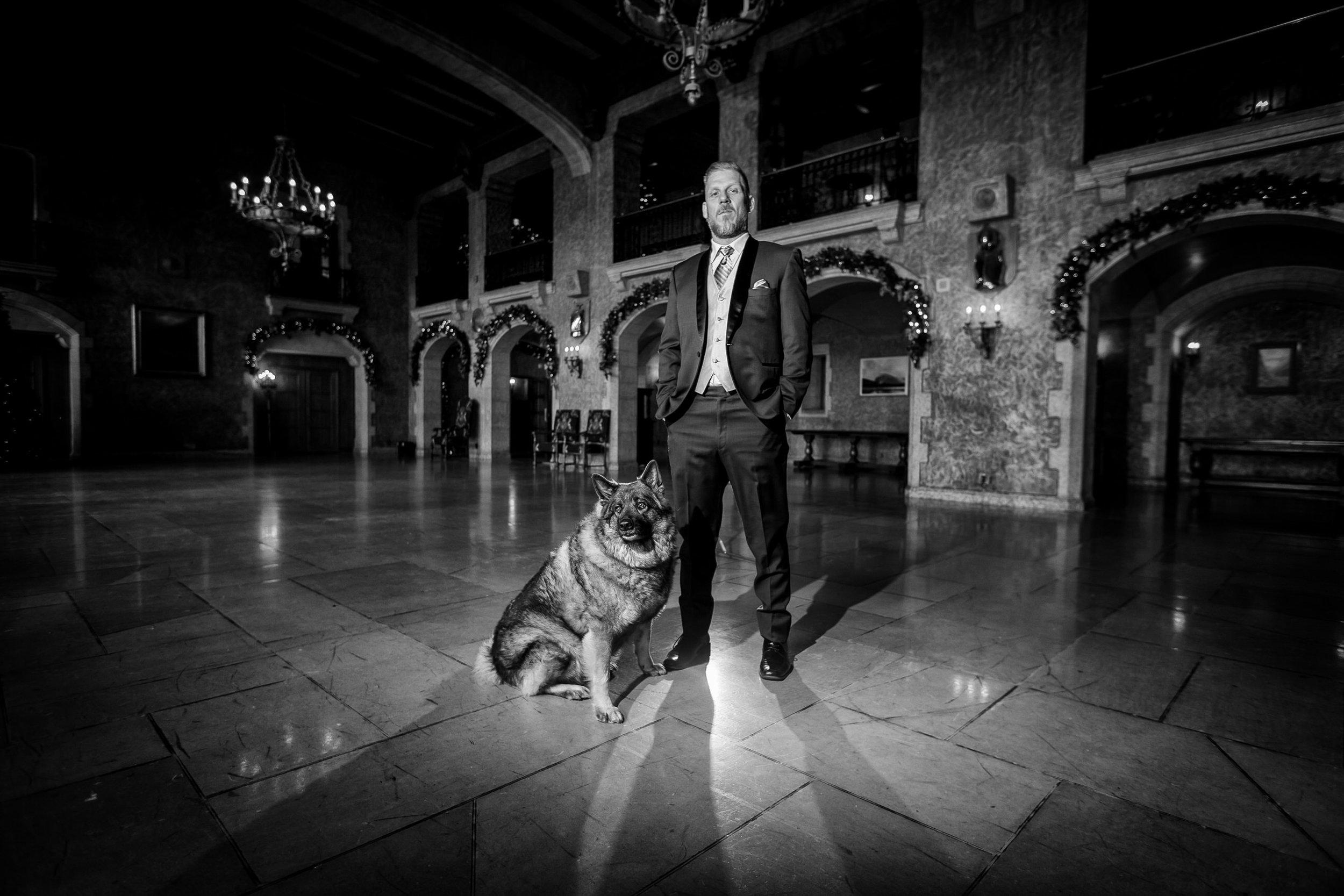 Fairmont Banff Springs Hotel Wedding Photos dog stand in