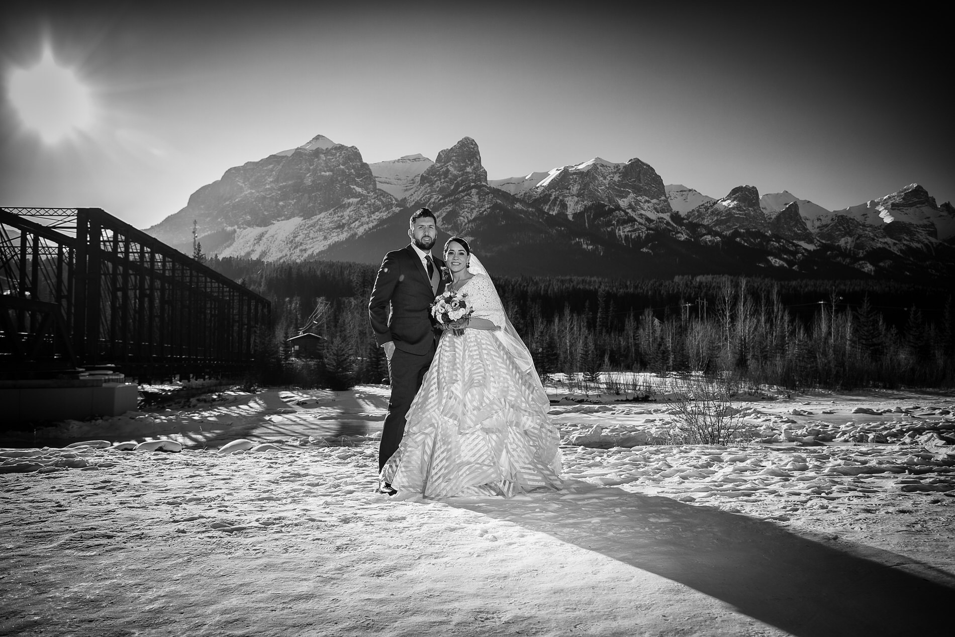 Wedding Photo in front of Bridge in Canmore