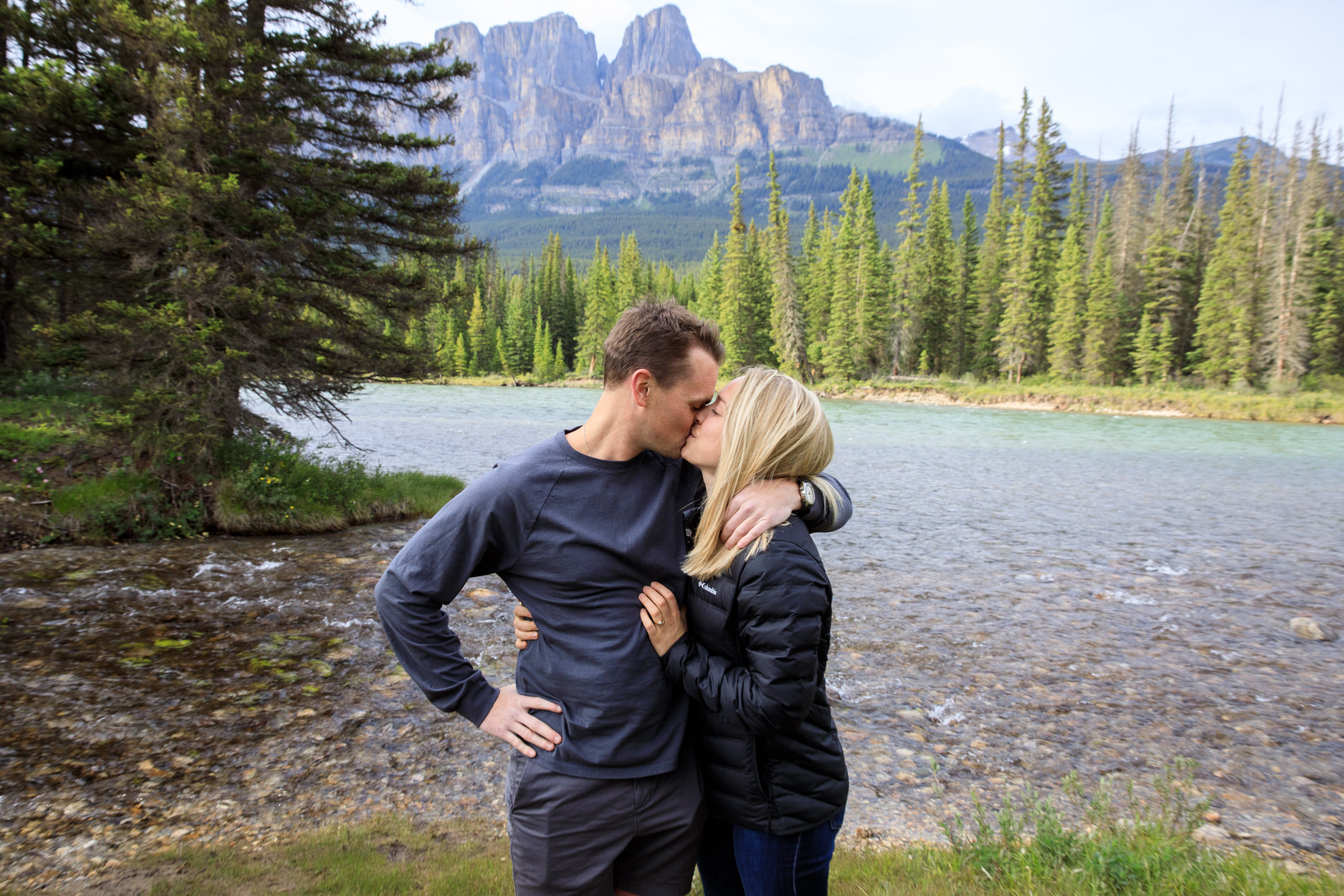 Couple gets engaged in a surprise proposal Banff National Park.