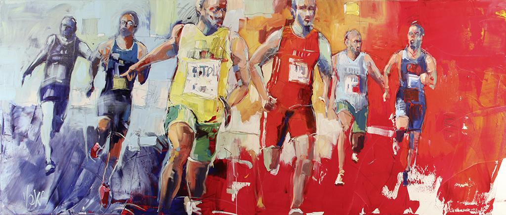 BIG RUN, 110x270 cm/43,3x106,3 inch, acrylic on canvas