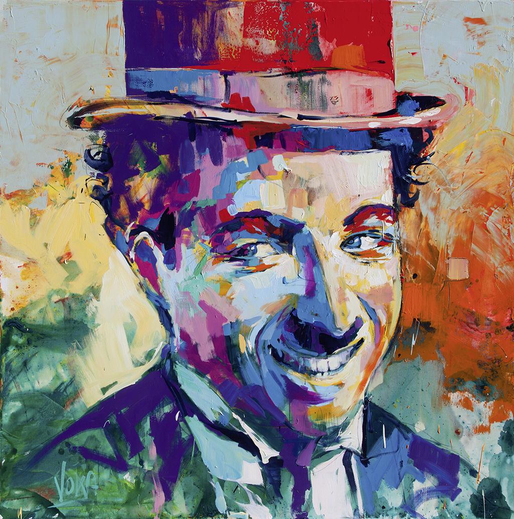 Charlie Chaplin 190x190cm/74,8x74,8 inch, acrylic on canvas.