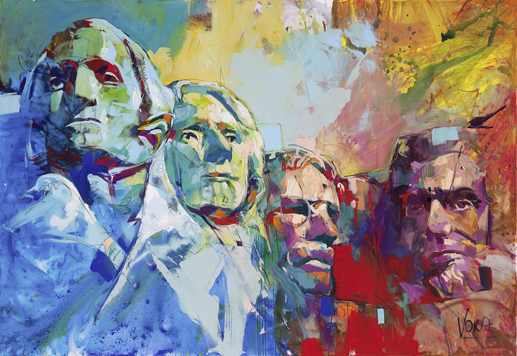 Mount Rushmore, 190x280cm/74,8x110,2 inch, acrylic on canvas.