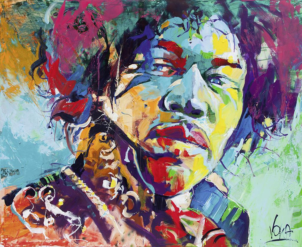 Jimi H. 180x220cm/70,9x86,6 inch, acrylic on canvas