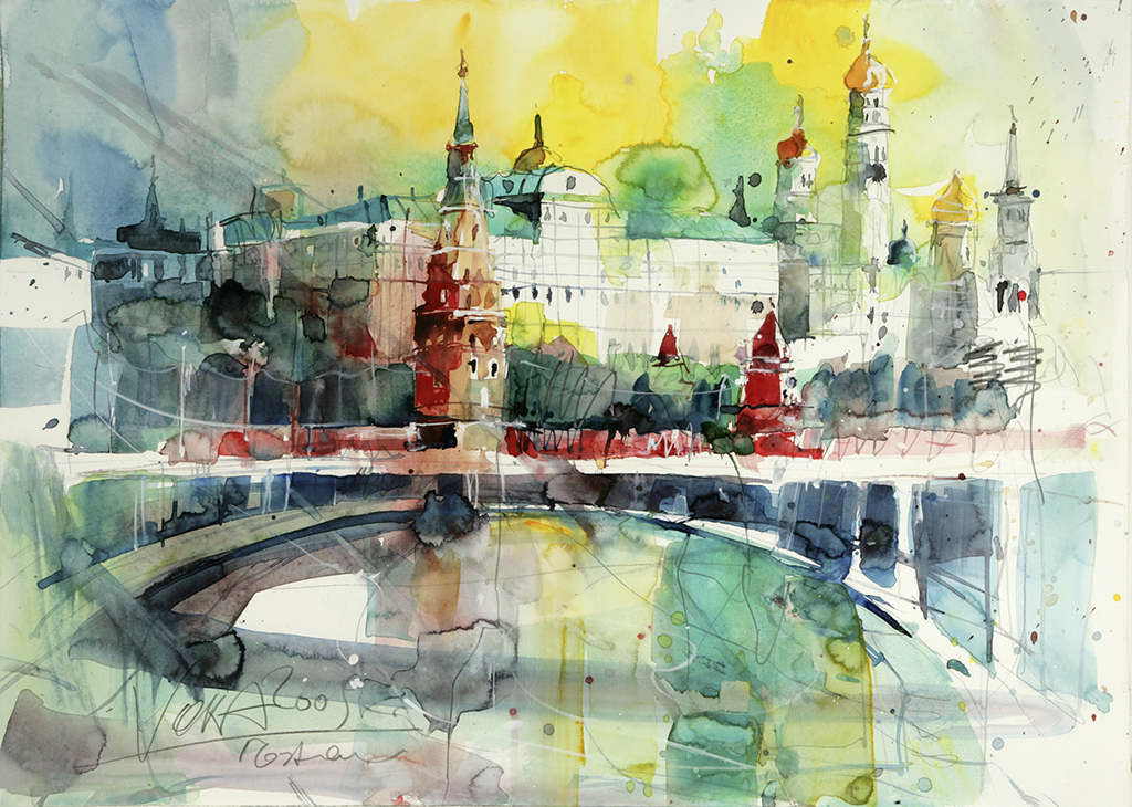 Kremlin Moscow, 50x70 cm/19,7 x 27,6 inch, Water Colour Painting