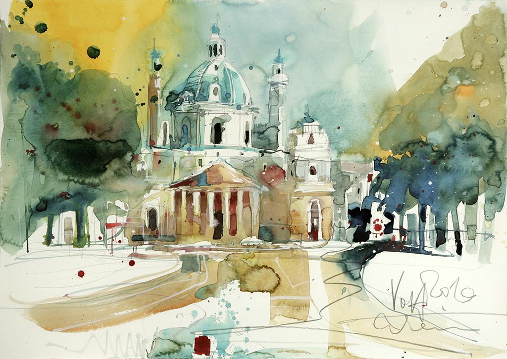 Vienna Karlskirche, 50x70 cm/19,7 x 27,6 inch, Water Colour Painting