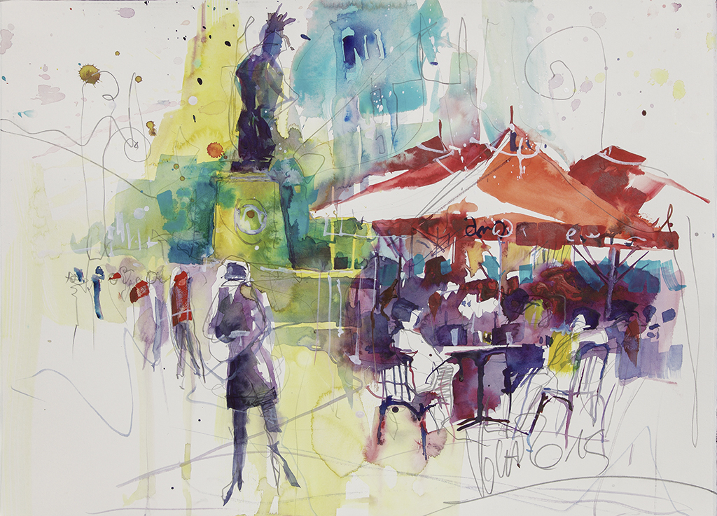 Summer in the City, 50x70 cm/19,7 x 27,6 inch, Water Colour Painting