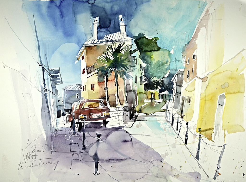 Vrsar Croatia 05, 75x55 cm/29,5 x 21,7 inch, Water Colour Painting