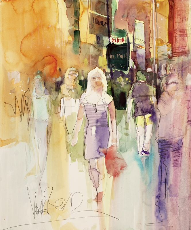 People 01, 56x46 cm/22,1 x 18,1 inch, Water Colour Painting
