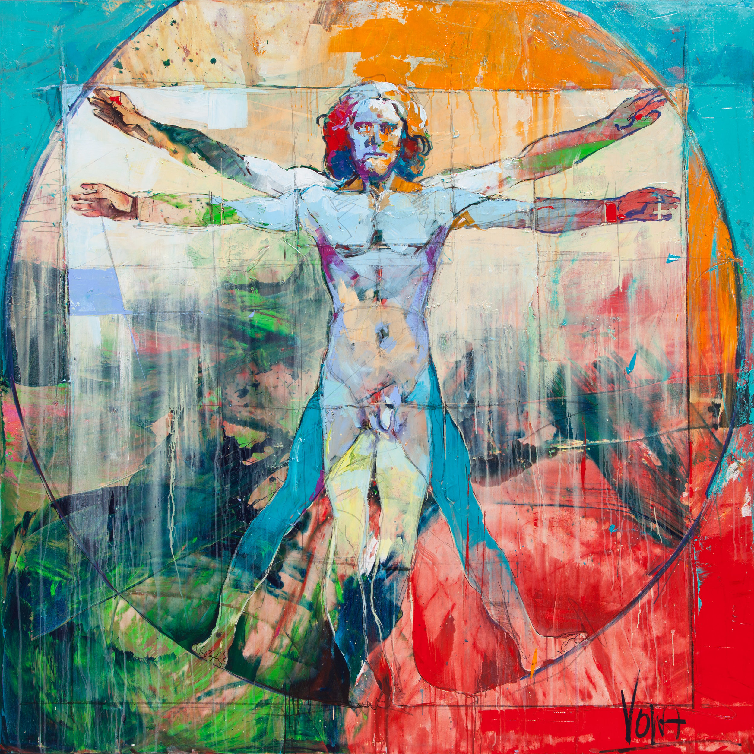 The Vitruvian Man, 190X190cm / 74,8X74,8 inch, Acrylic on Canvas