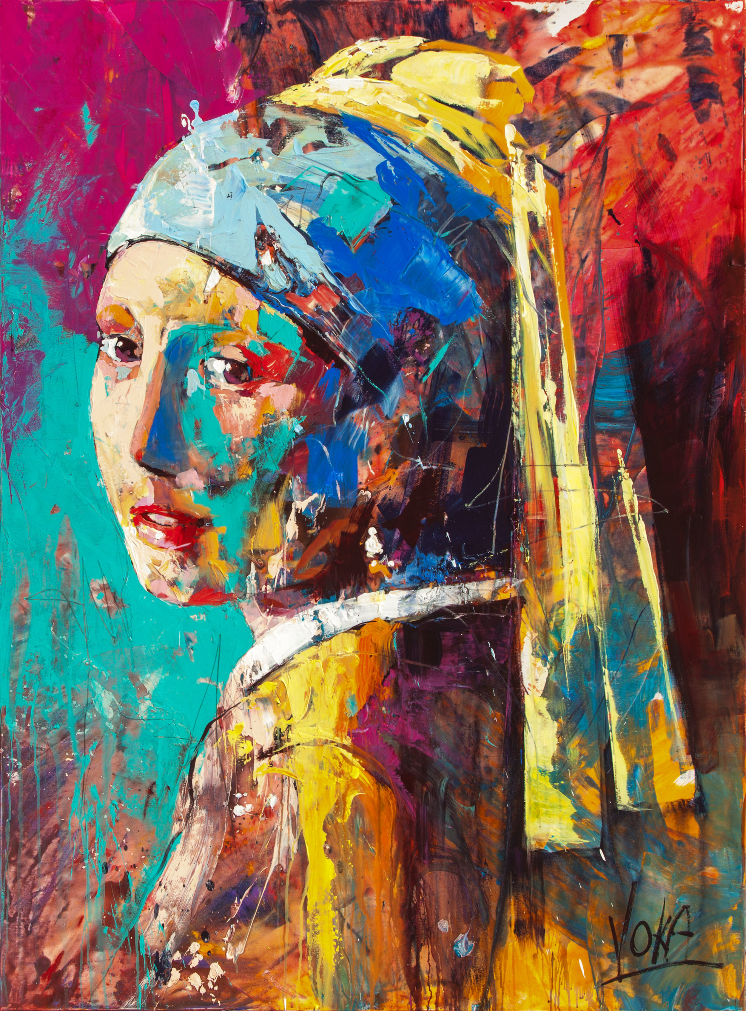 Girl with the Pearl Earring, 200X150cm / 78,7X59,1 inch, Acrylic on Canvas