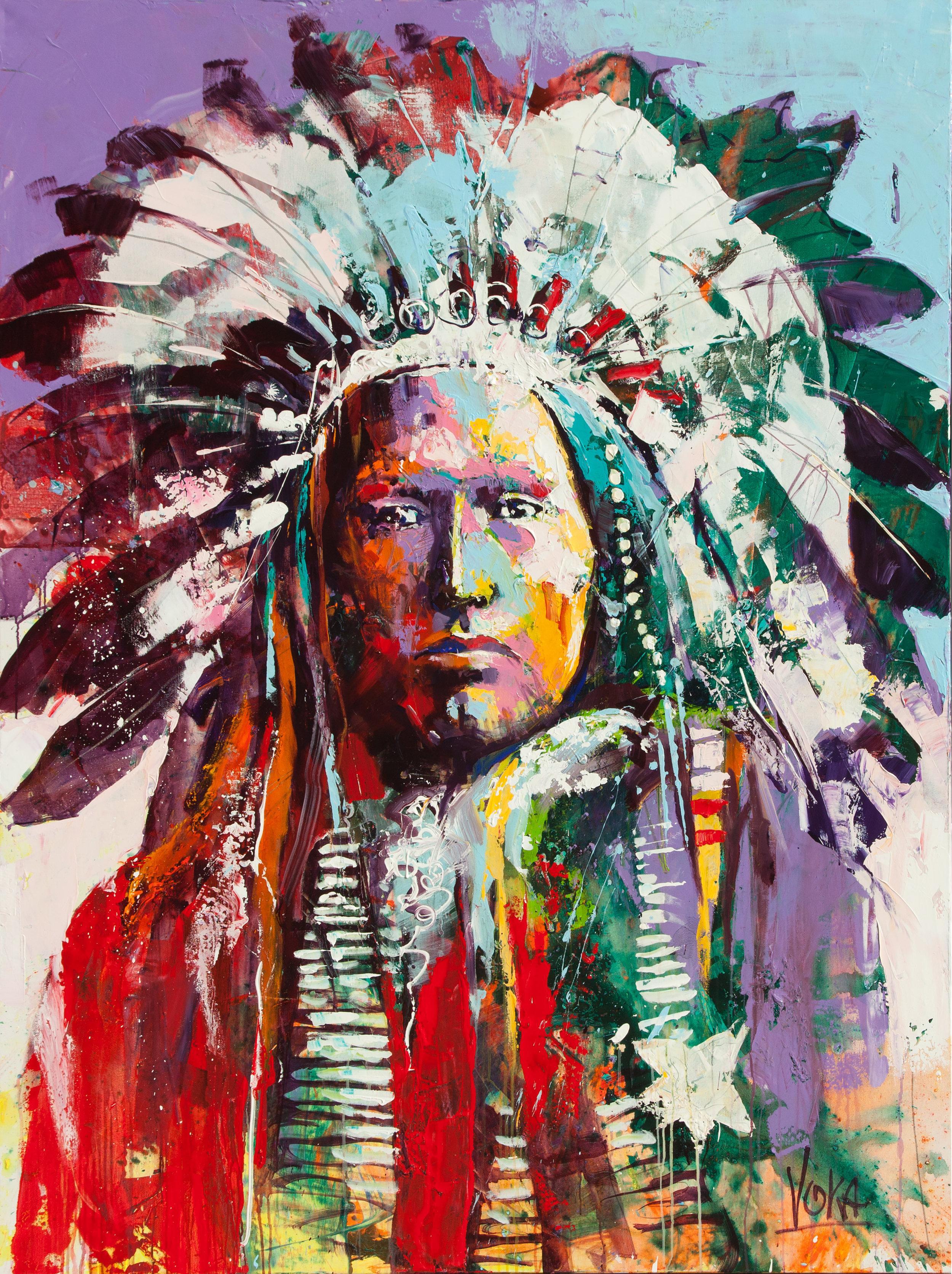 Native American Chief, 200x150 cm/78,7x59,1 inch, Acrylic on Canvas