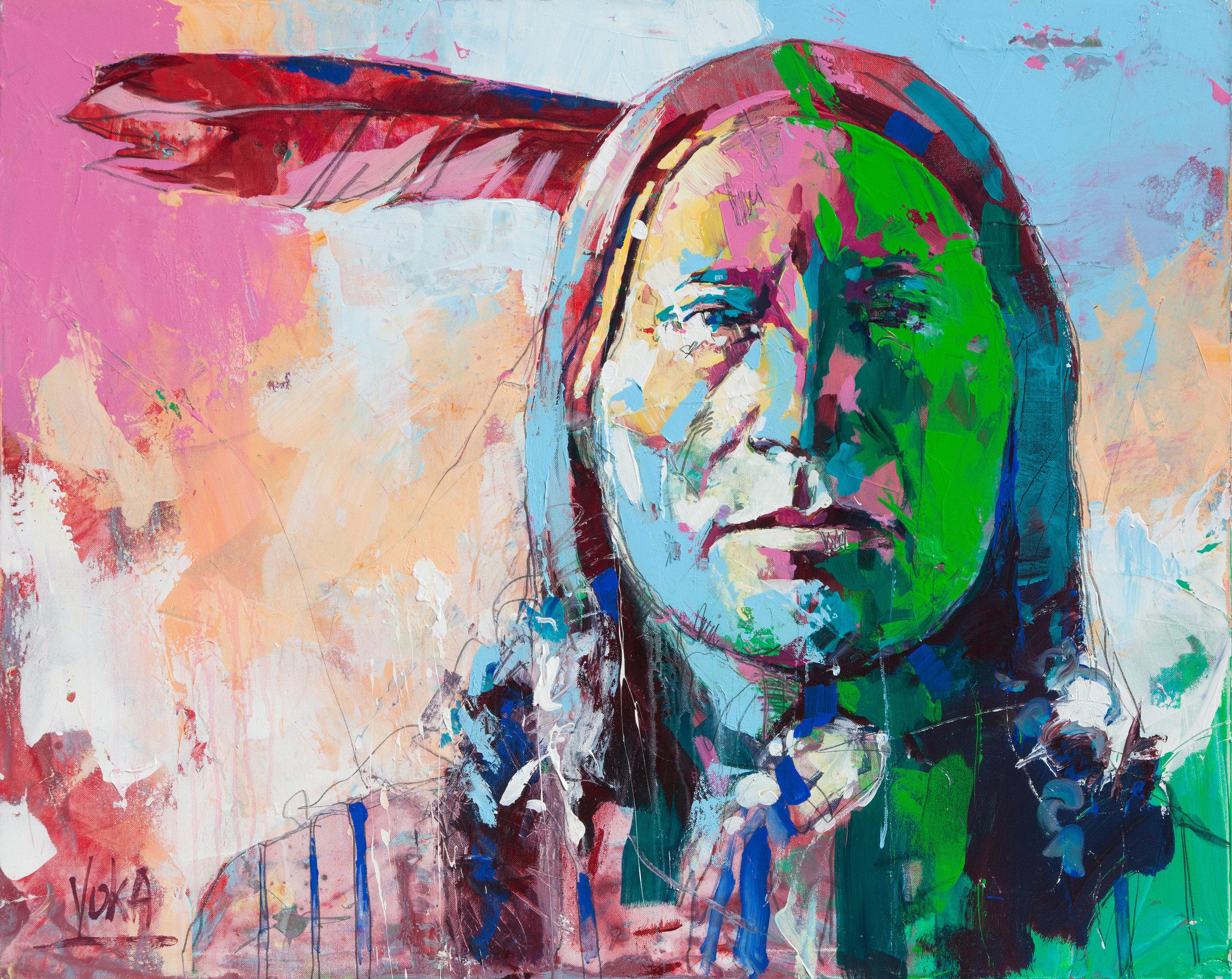 Nativ American, 80x100 cm/31,5x39,4 inch, Acrylic on Canvas