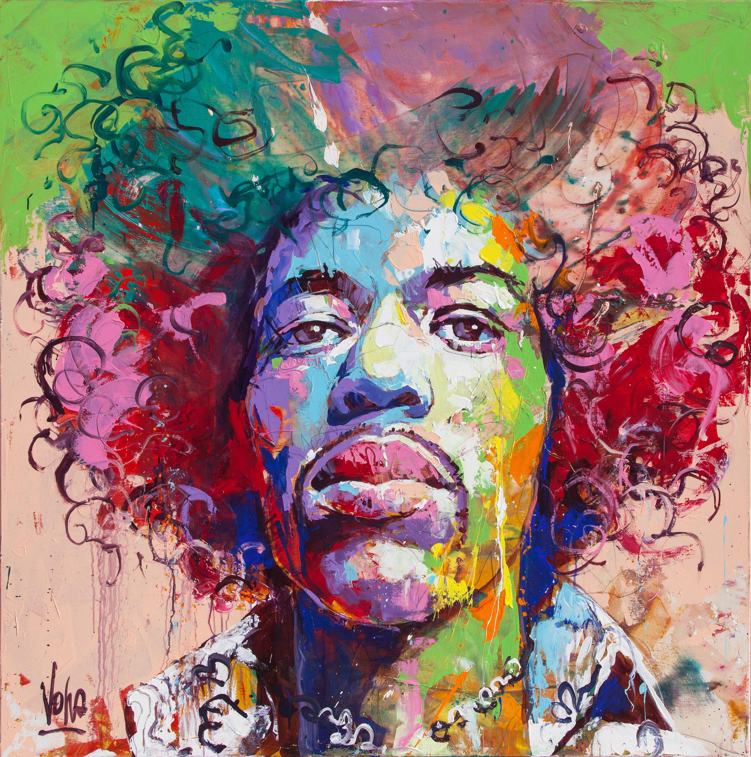 Jimi, 150x150 cm/59,1x59,1 inch, Acrylic on Canvas