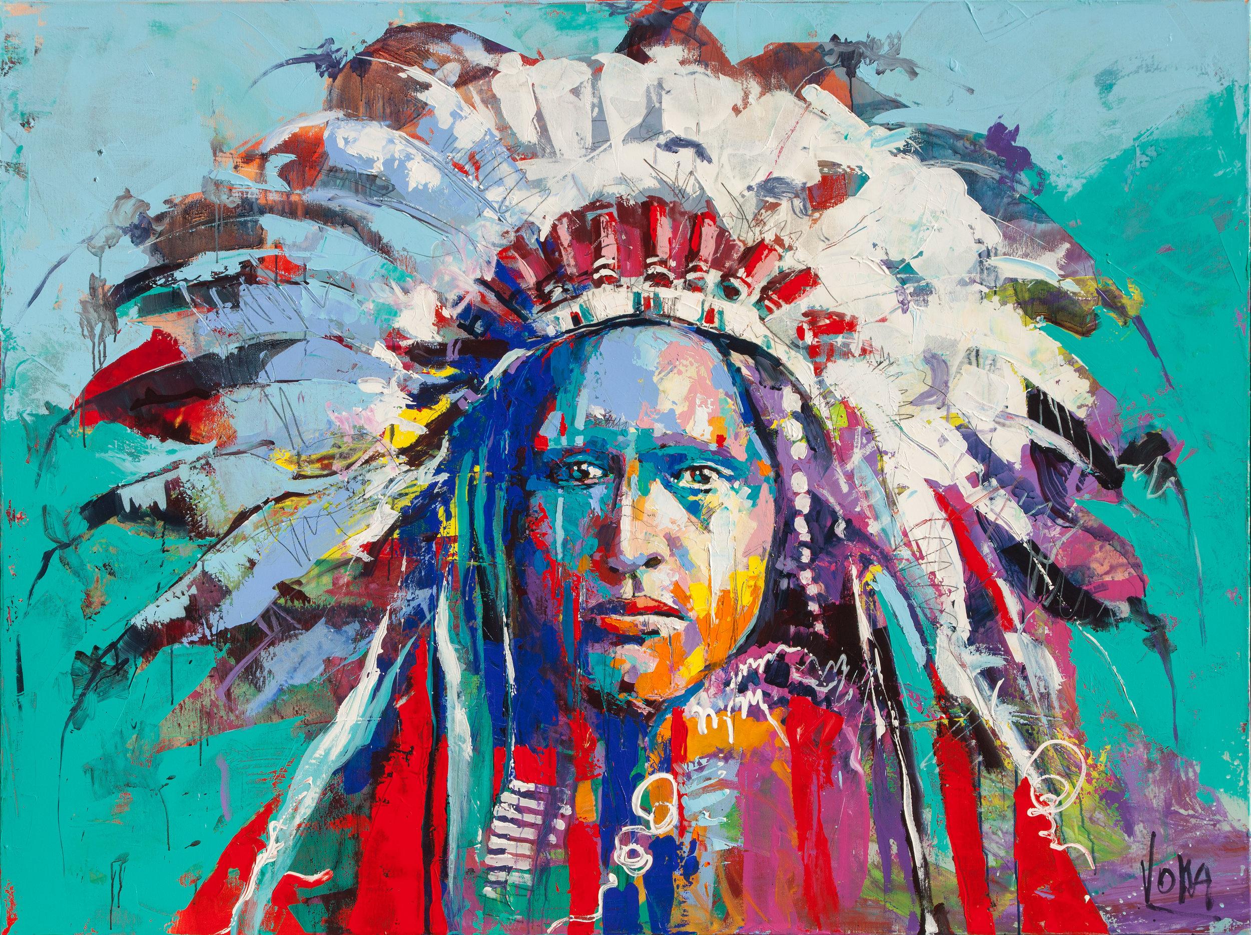 Nativ American, 150x200 cm/59,1x78,7 inch, Acrylic on Canvas