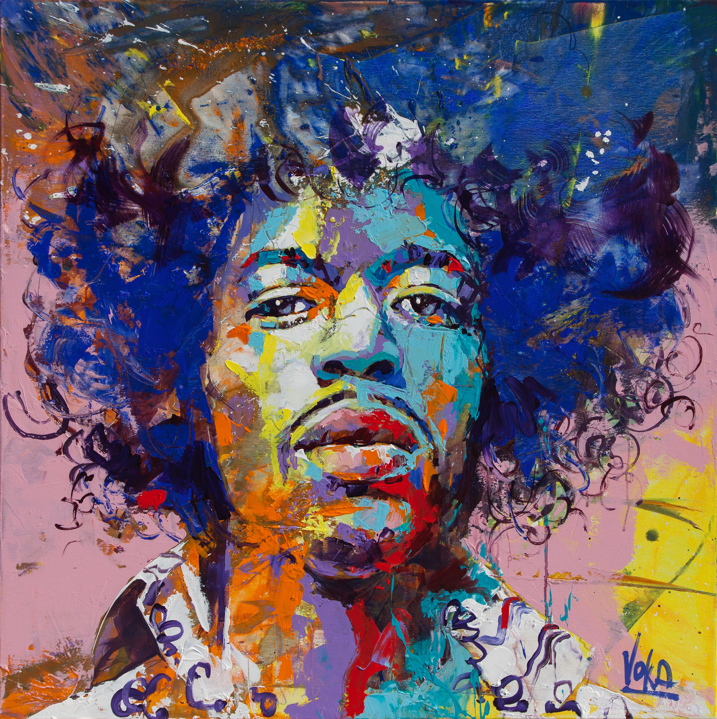 Jimi, 100x100 cm/39,4x39,4 inch, Acrylic on Canvas