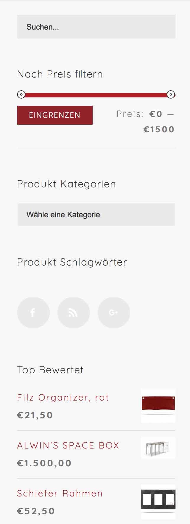 Produktfilter helfen bei der Auswahl