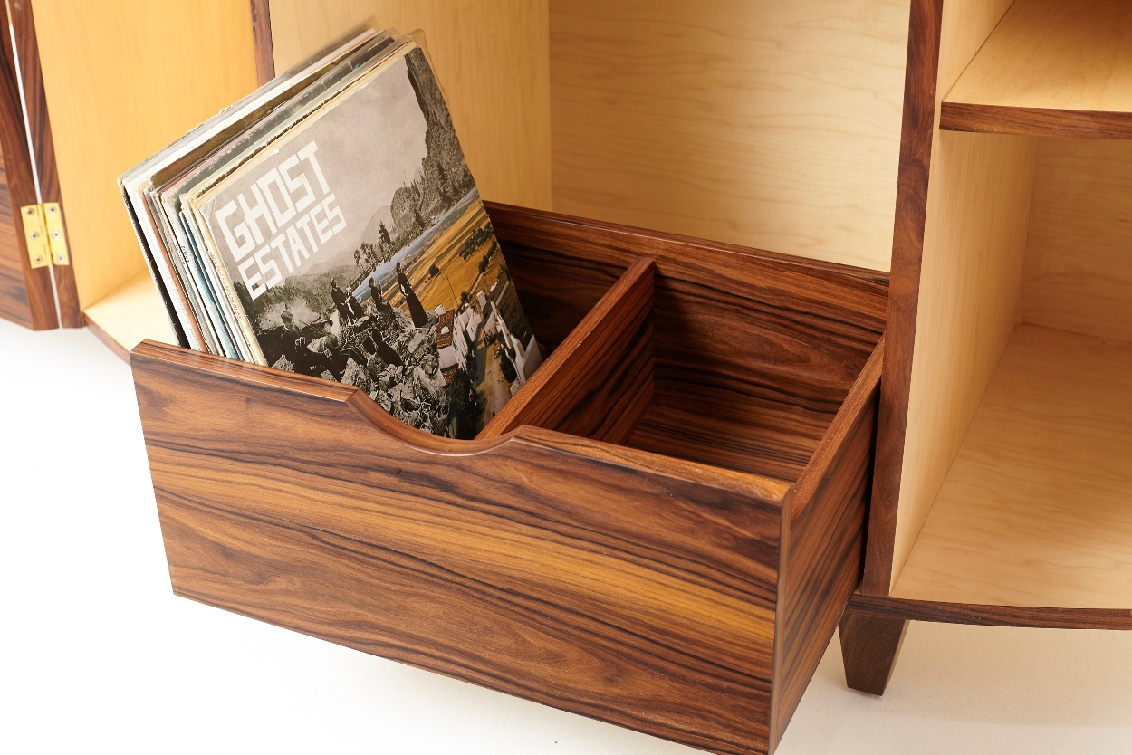 Rosewood Record Player Cabinet - Drawer - Tricia Harris.jpg