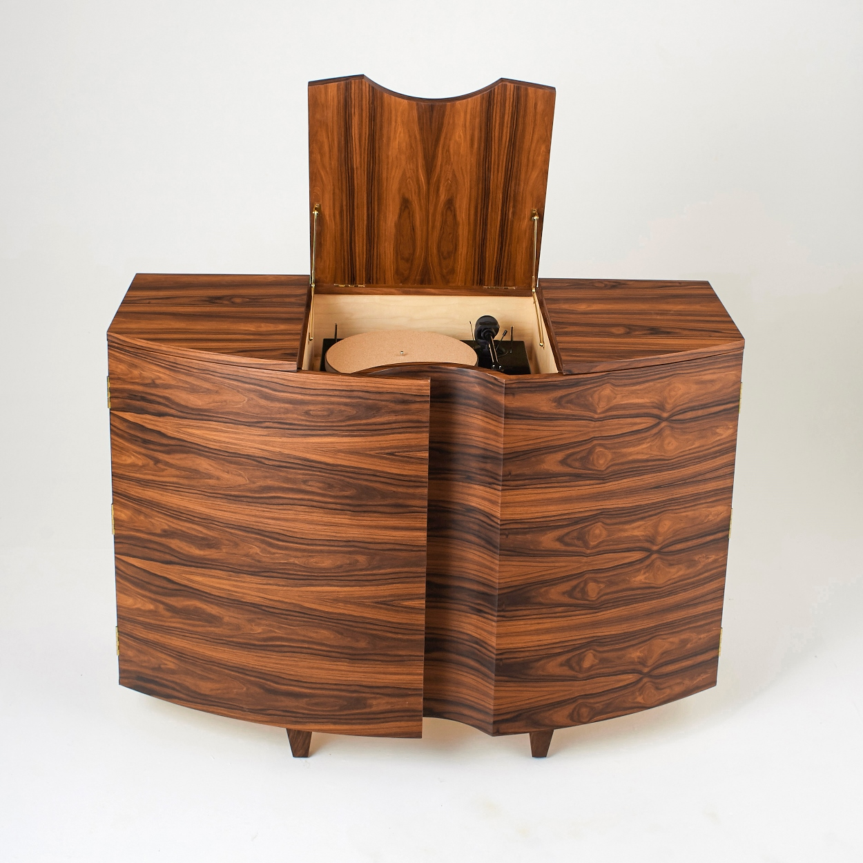 Rosewood Record Player Cabinet - Lid Open -Tricia Harris.jpg