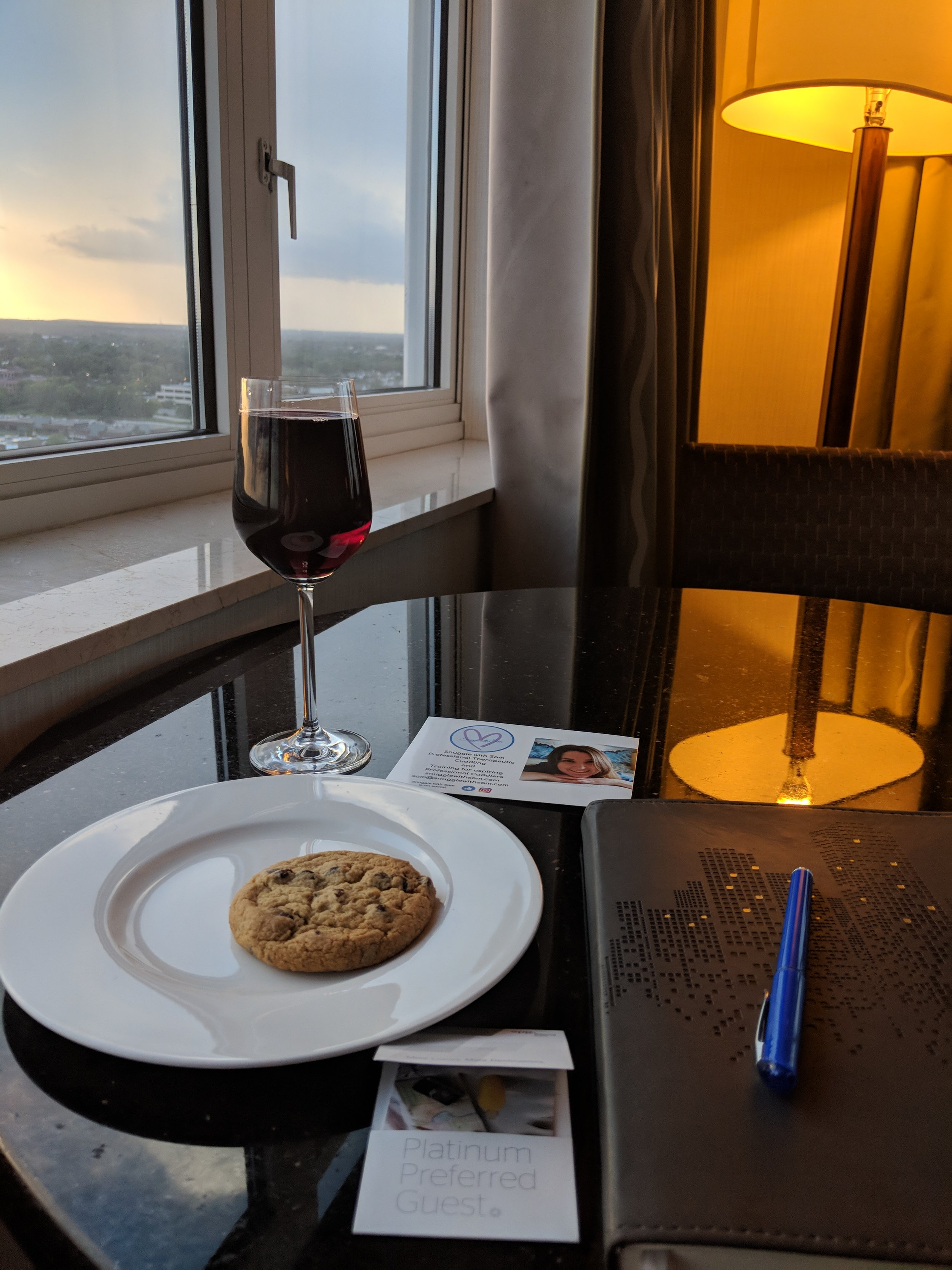 Seriously, I had this every single night I was in the Westin Hotel in Lombard. Look at how full that glass of wine is!