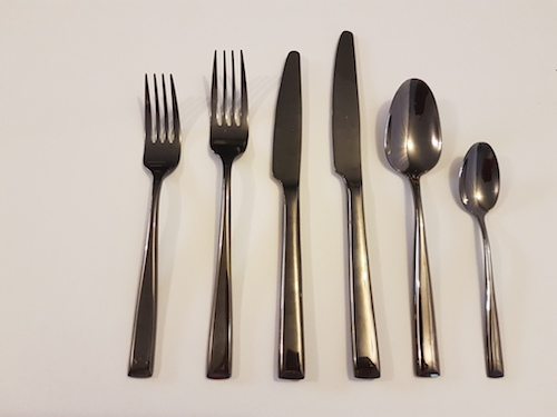 black cutlery set for hire