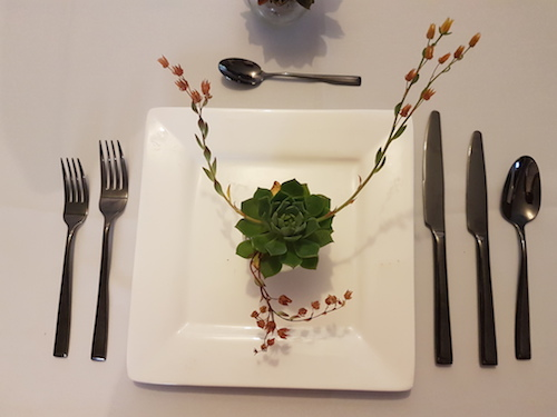 black cutlery table setting