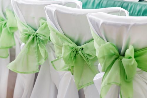 Mint green organza sash on white satin tieback