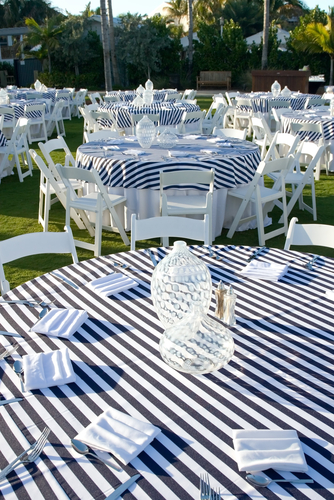 custom made Navy and white stripe table cloth