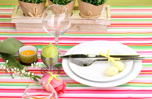 custom bright stripe tablecloth