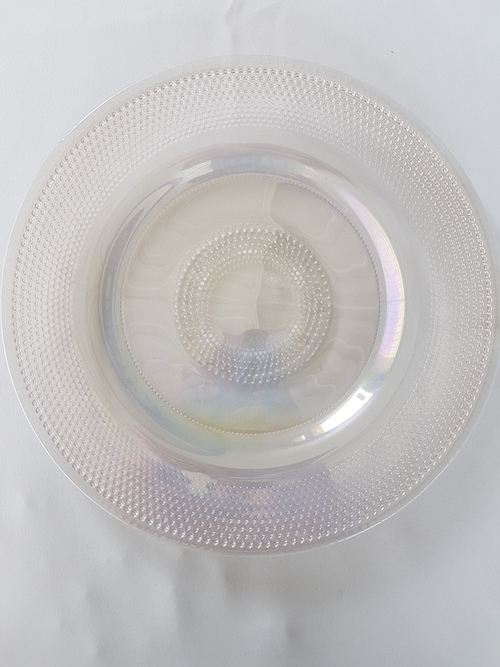 textured crystal glass charger plate AVAILABLE FOR HIRE NOW