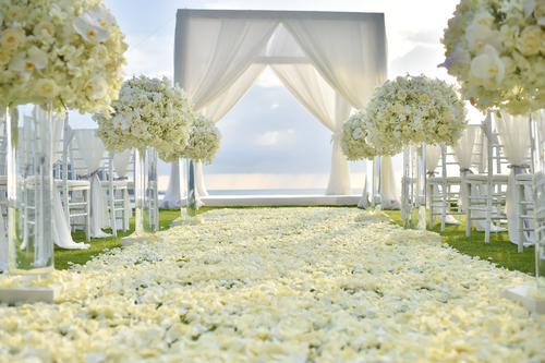 floral ceremony aisle runner with custom made gazebo with fabric