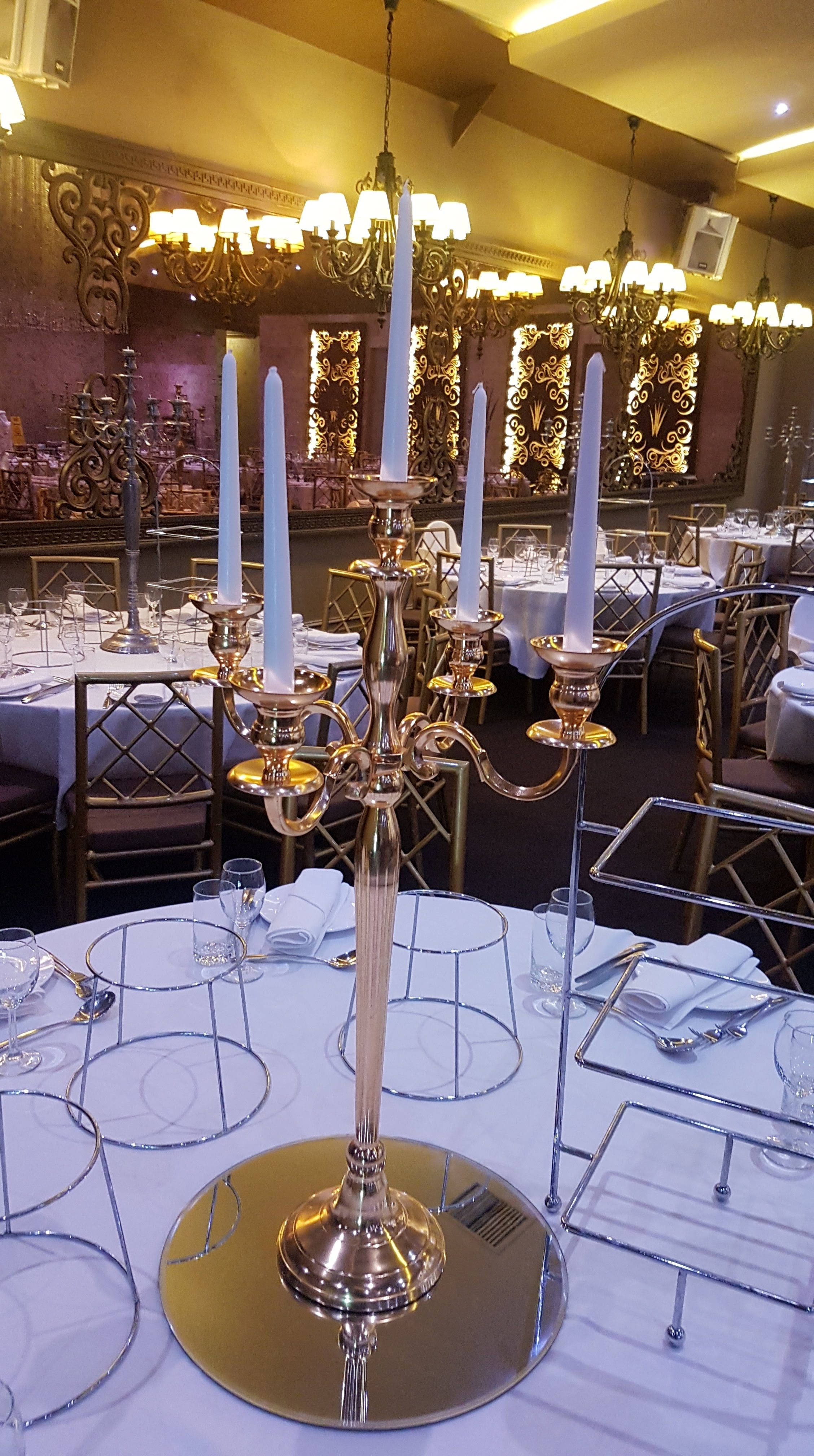 Gold Candelabra with Mirror Base and Fishbowl Tealights