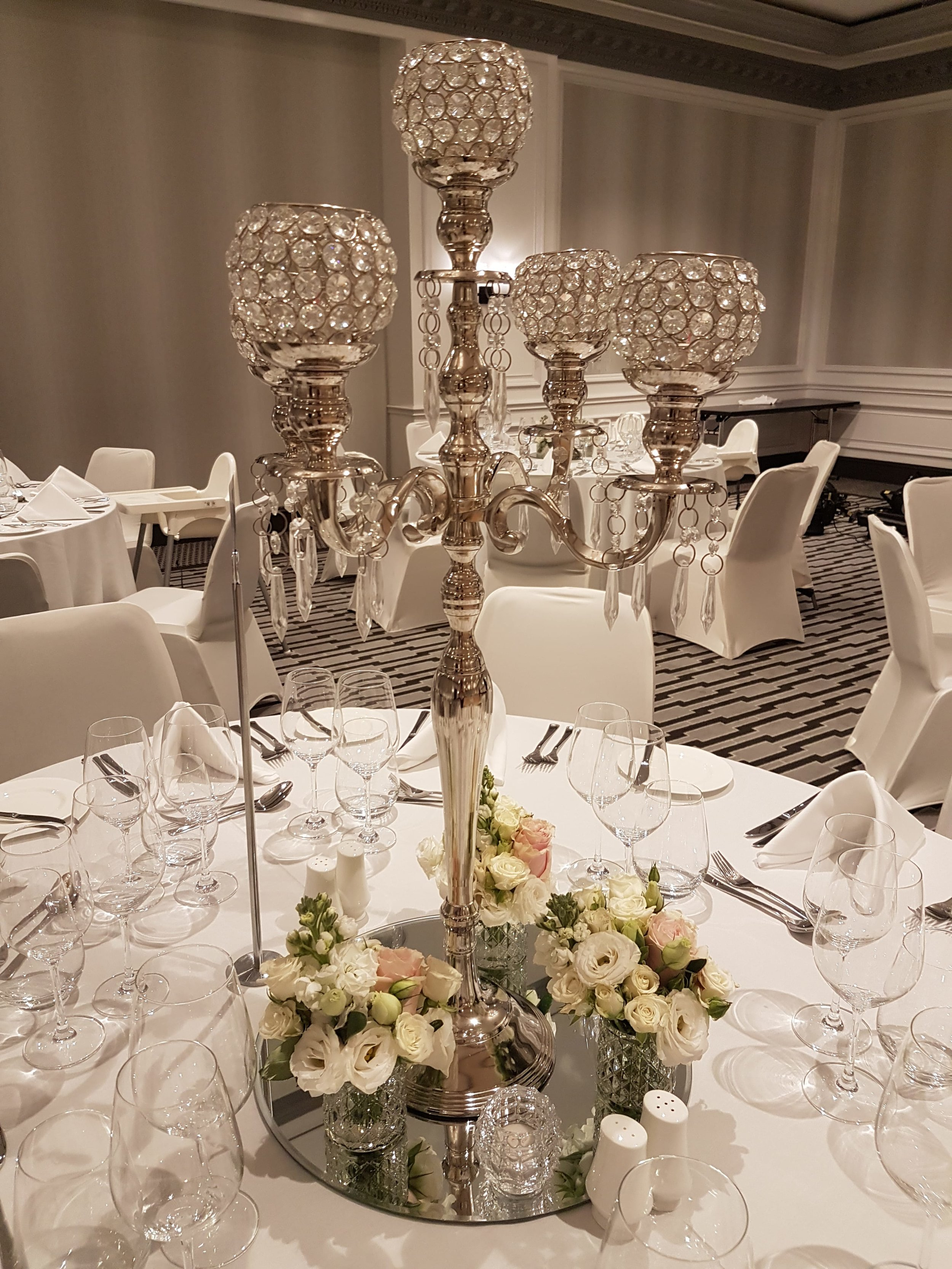 crystal centrepiece package for hire