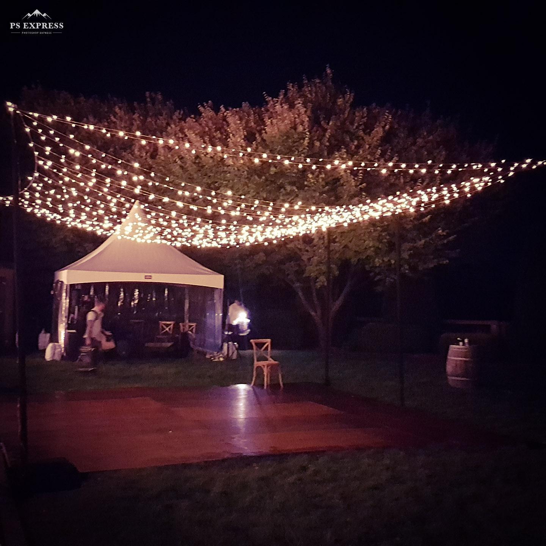 Centennial Vineyards Bowral - Outdoor Fairy light Canopy over dance floor.
