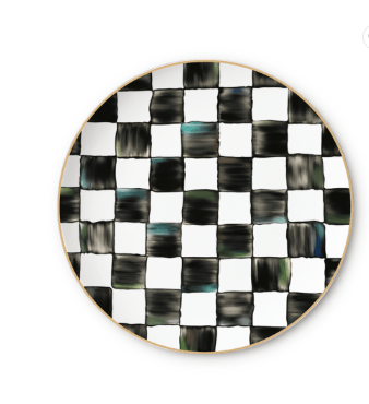 Black and White Chequered Charger Plate