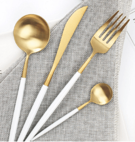 White Ceramic Gold Cutlery