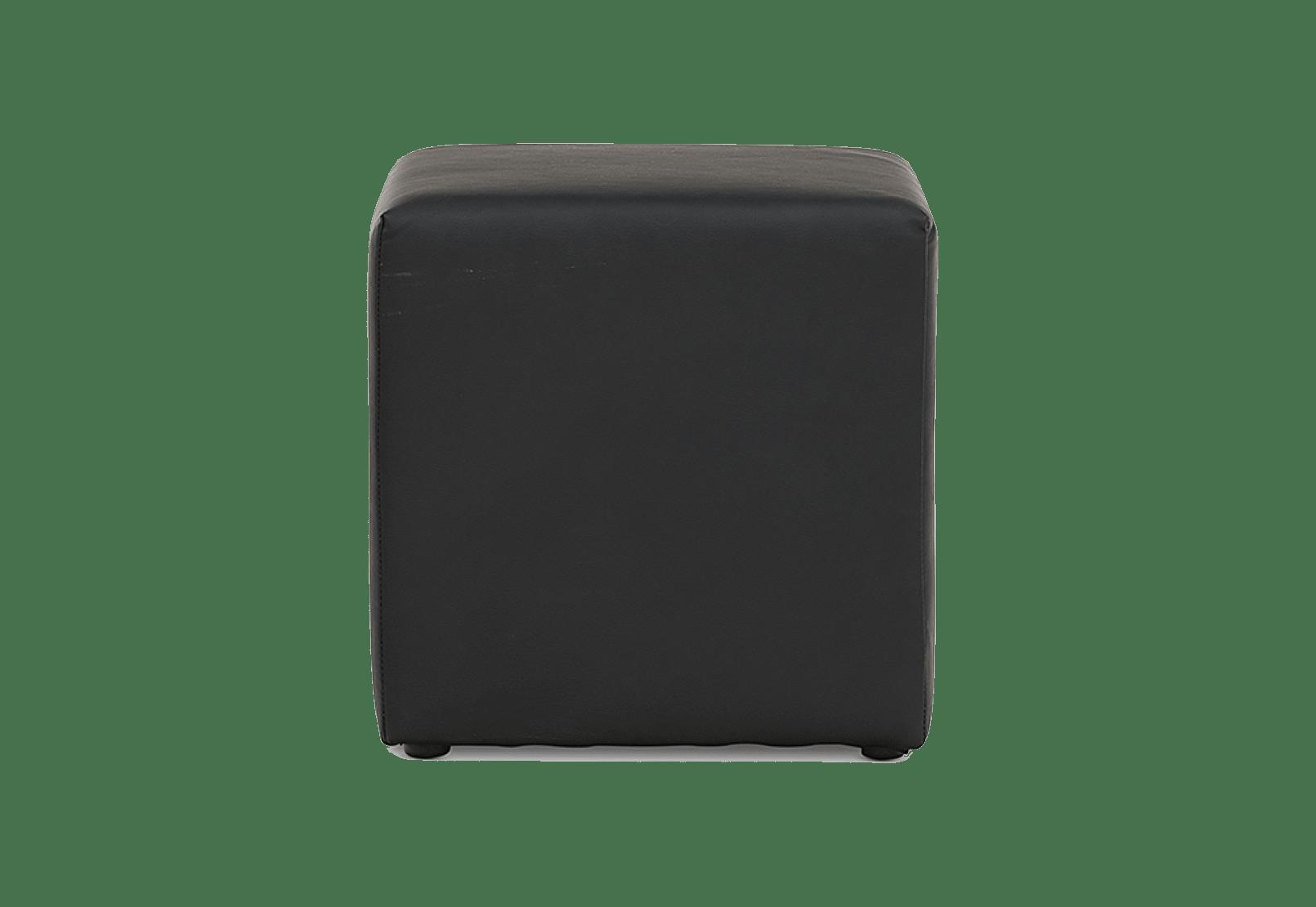 Black Leather Ottoman Cube