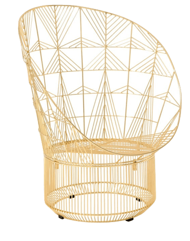 Gold Wire Bend Peacock Chair