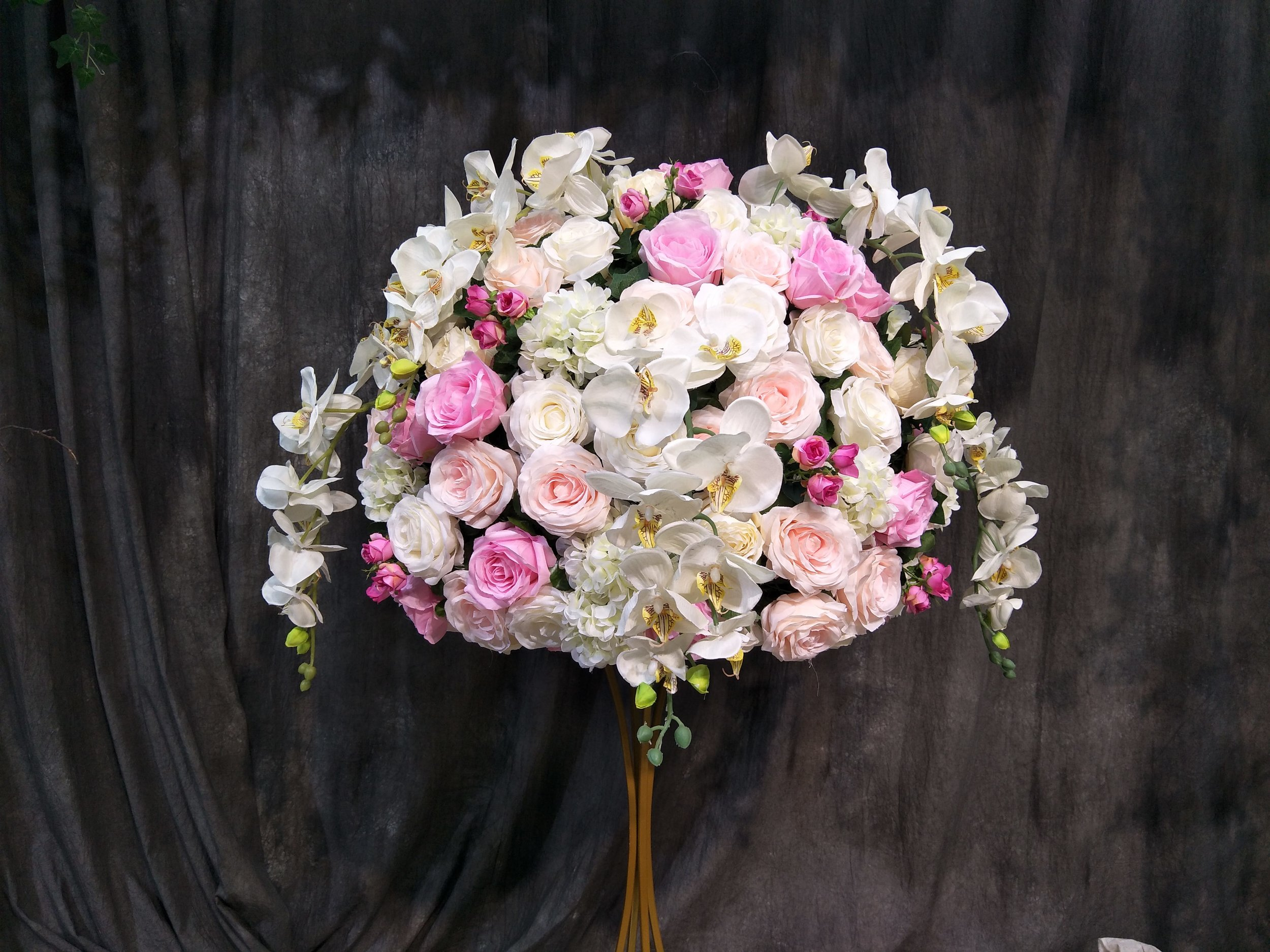 70cm Silk Floral Centrepiece White and Blush Pink