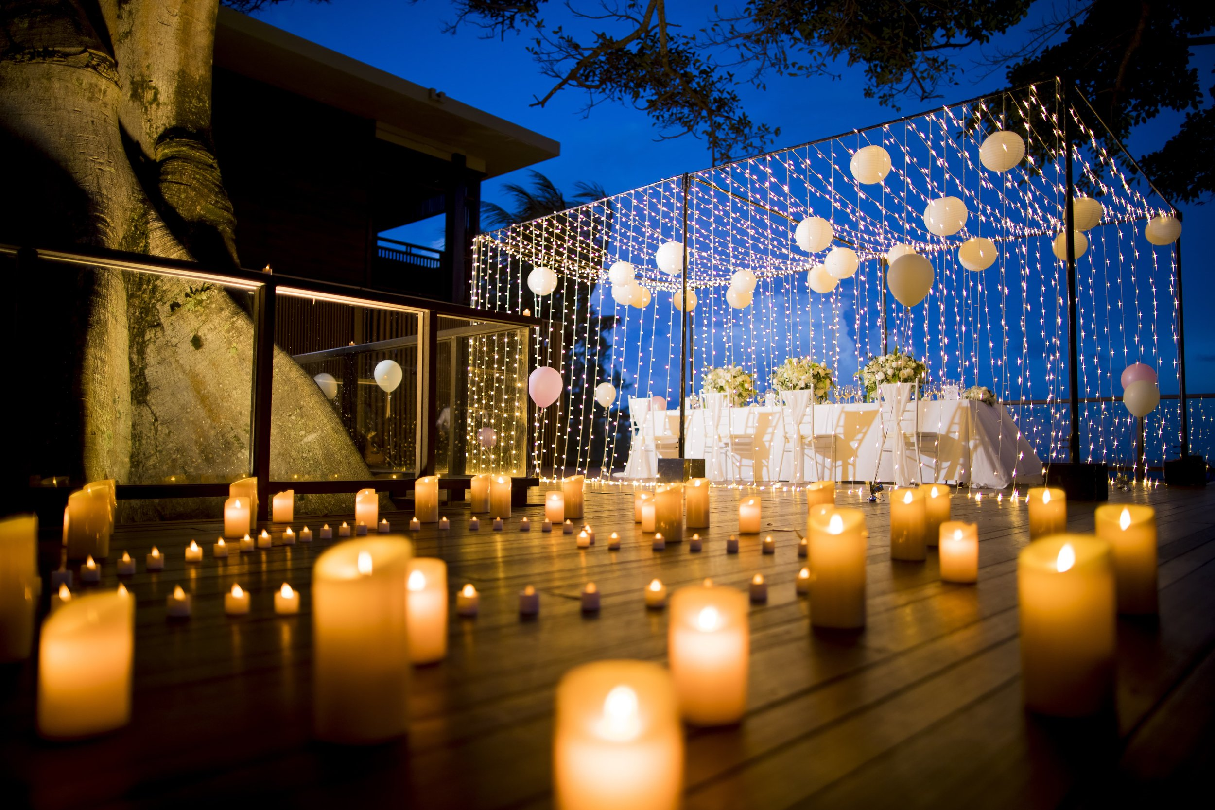 Intimate private outdoor dinner party - fairy light canopy
