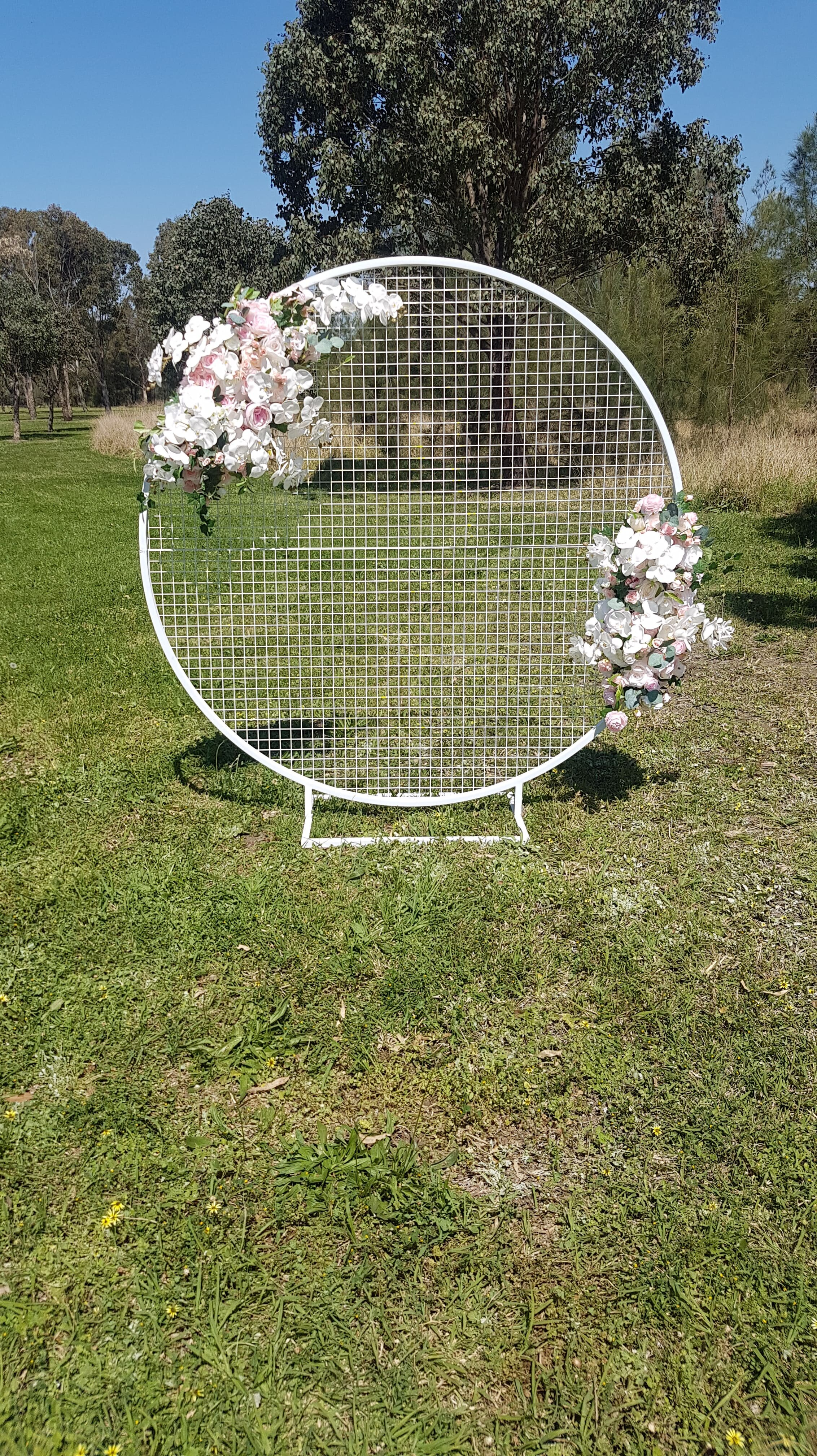 White Mesh Screen with Silk Florals for Hire