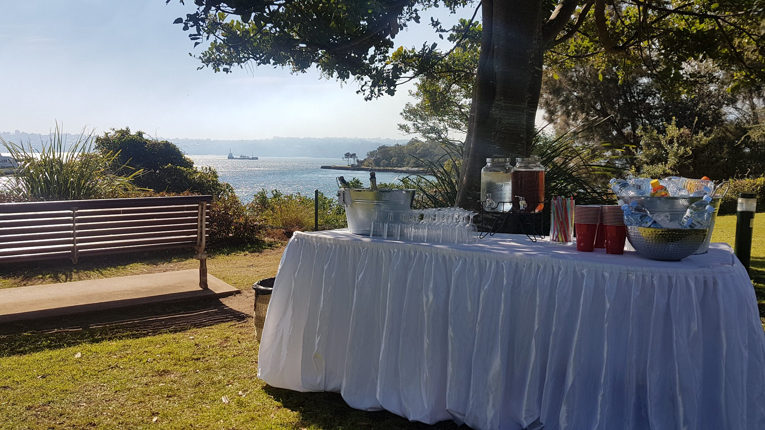 mckell Park Darling point wedding ceremony drinks table