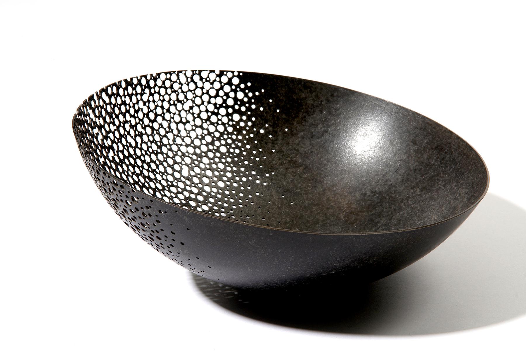 'Crumbling Bowl' black patinated copper