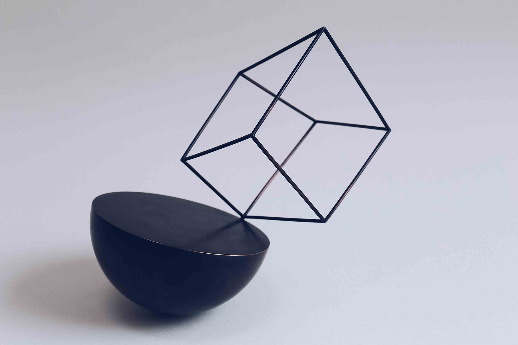 'Cube Bowl' patinated copper
