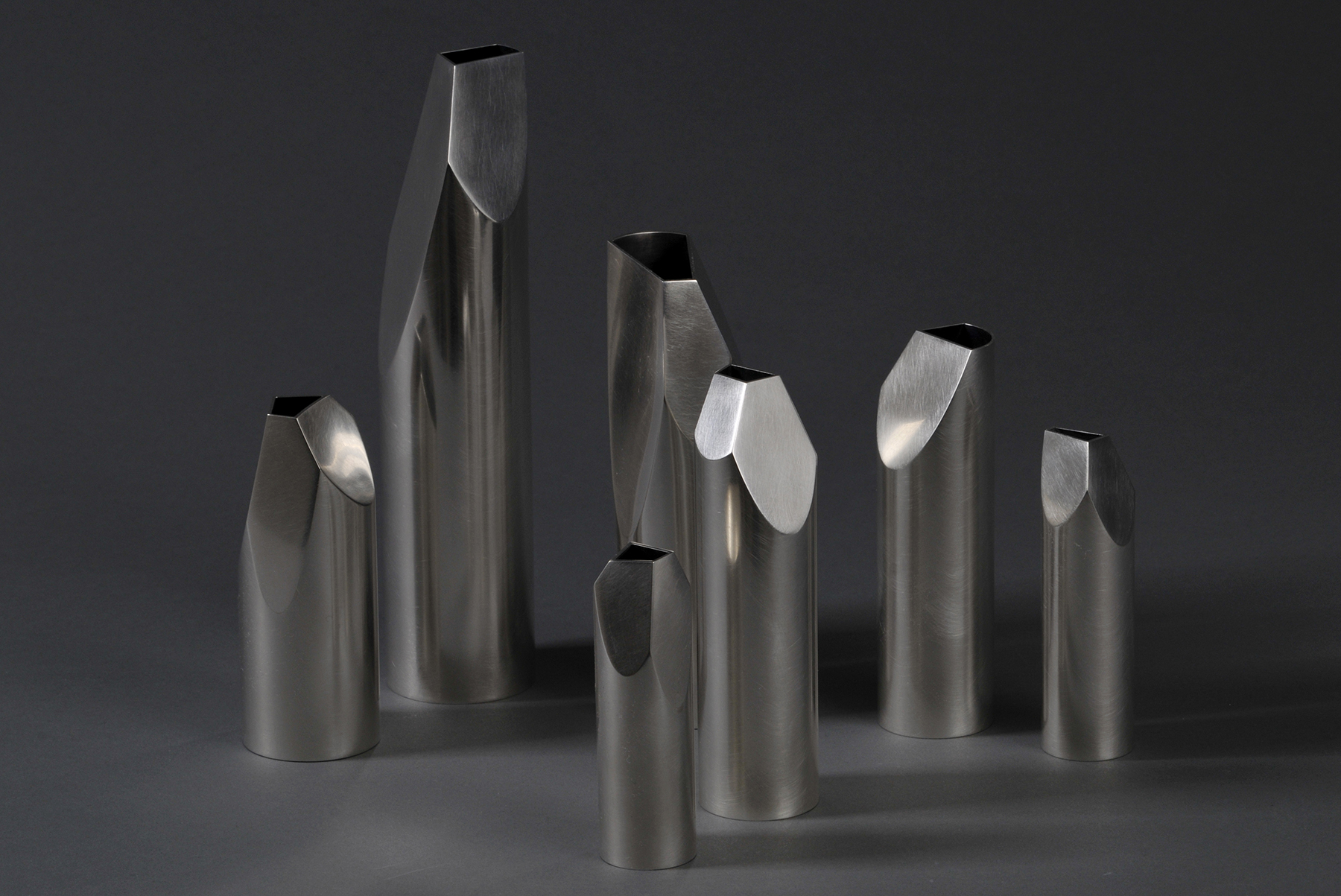 'Whittled Vases' in sterling silver