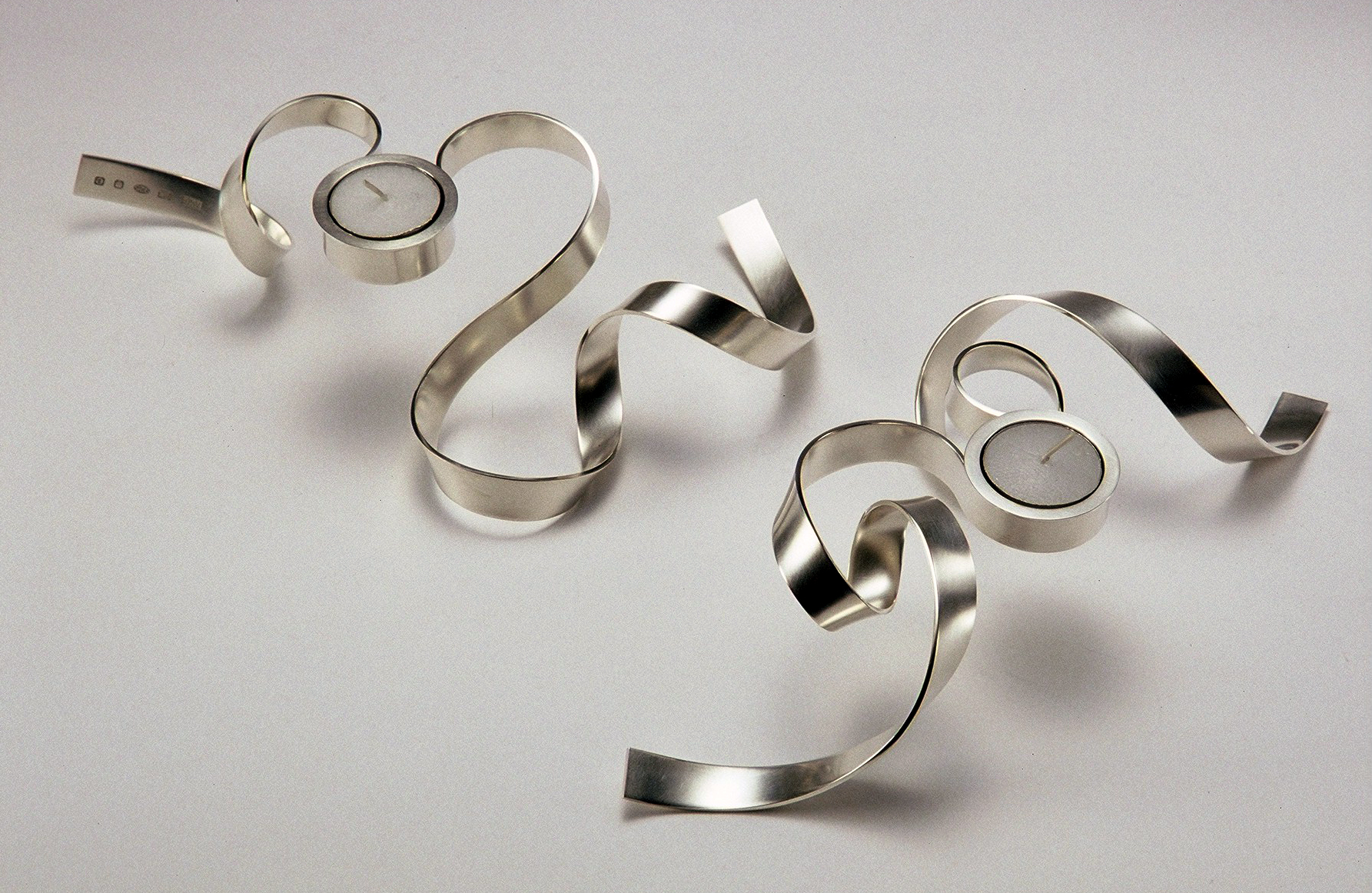 'Ribbon Tea Lights' sterling silver
