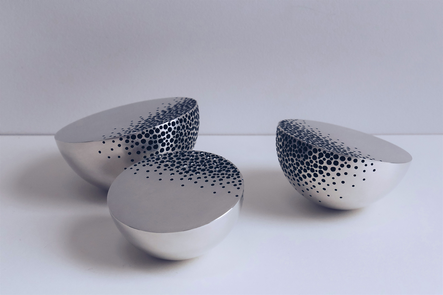 'Crumbling Bowls' sterling silver