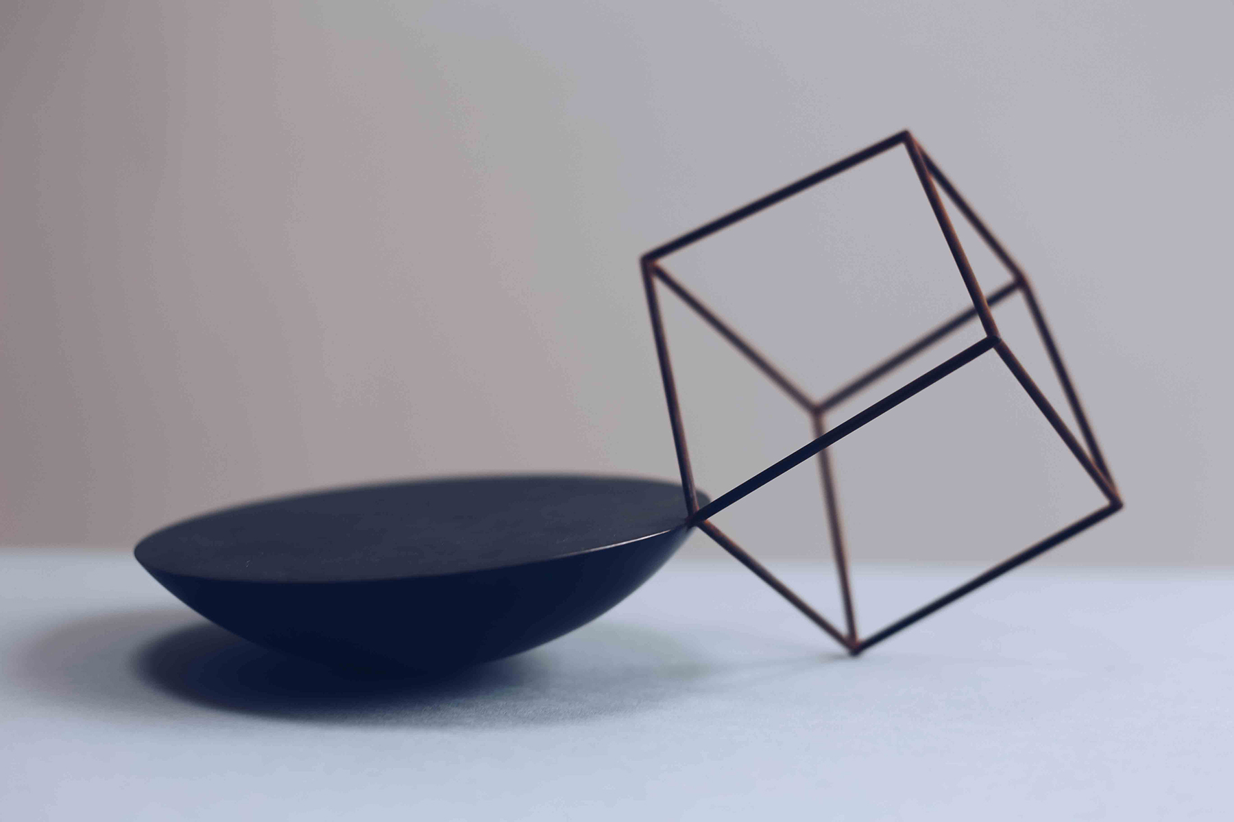 'Cube Bowl' patinated copper and weathered steel