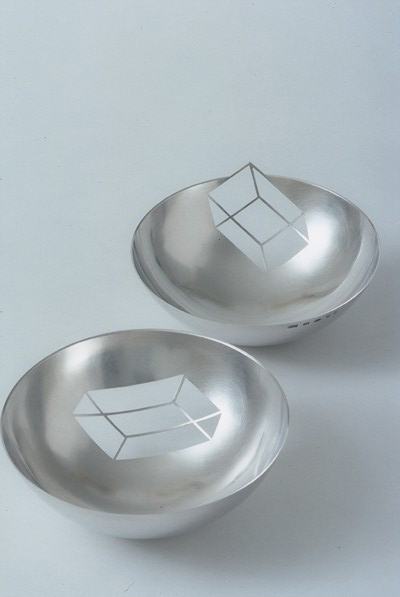 A pair of cube 'Negative Bowls'  sterling silver