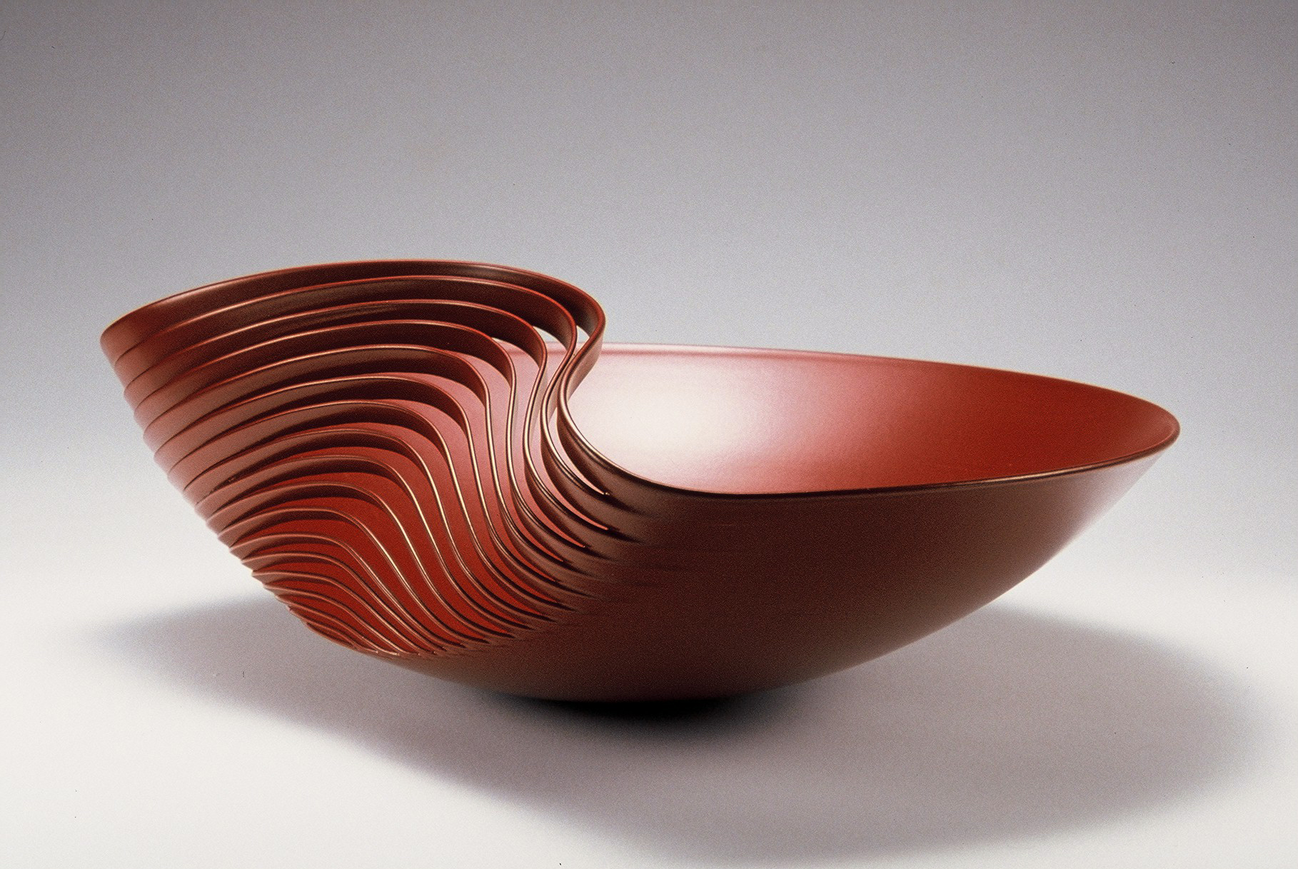 'Dented Bowl' in powder coated copper