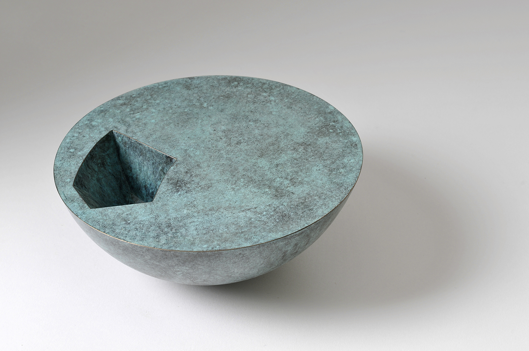 'Void Bowl' in verdigris copper